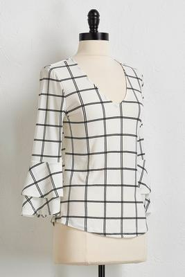 window pane flutter sleeve top