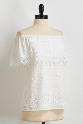 eyelet crochet off the shoulder top