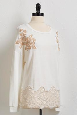 floral applique lace hem top