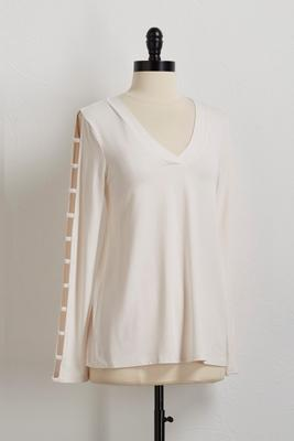 ladder sleeve v-neck top