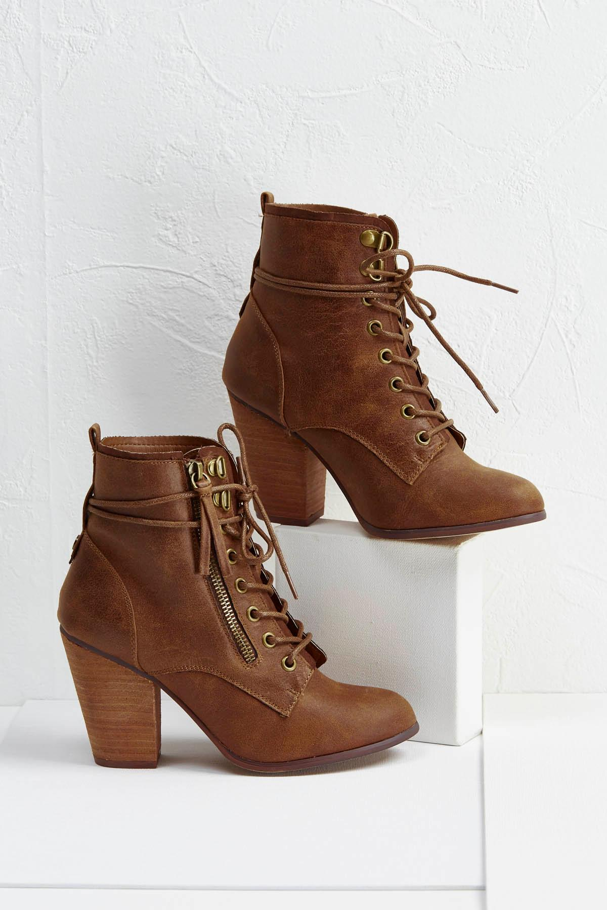 Zippered Tie Ankle Boots