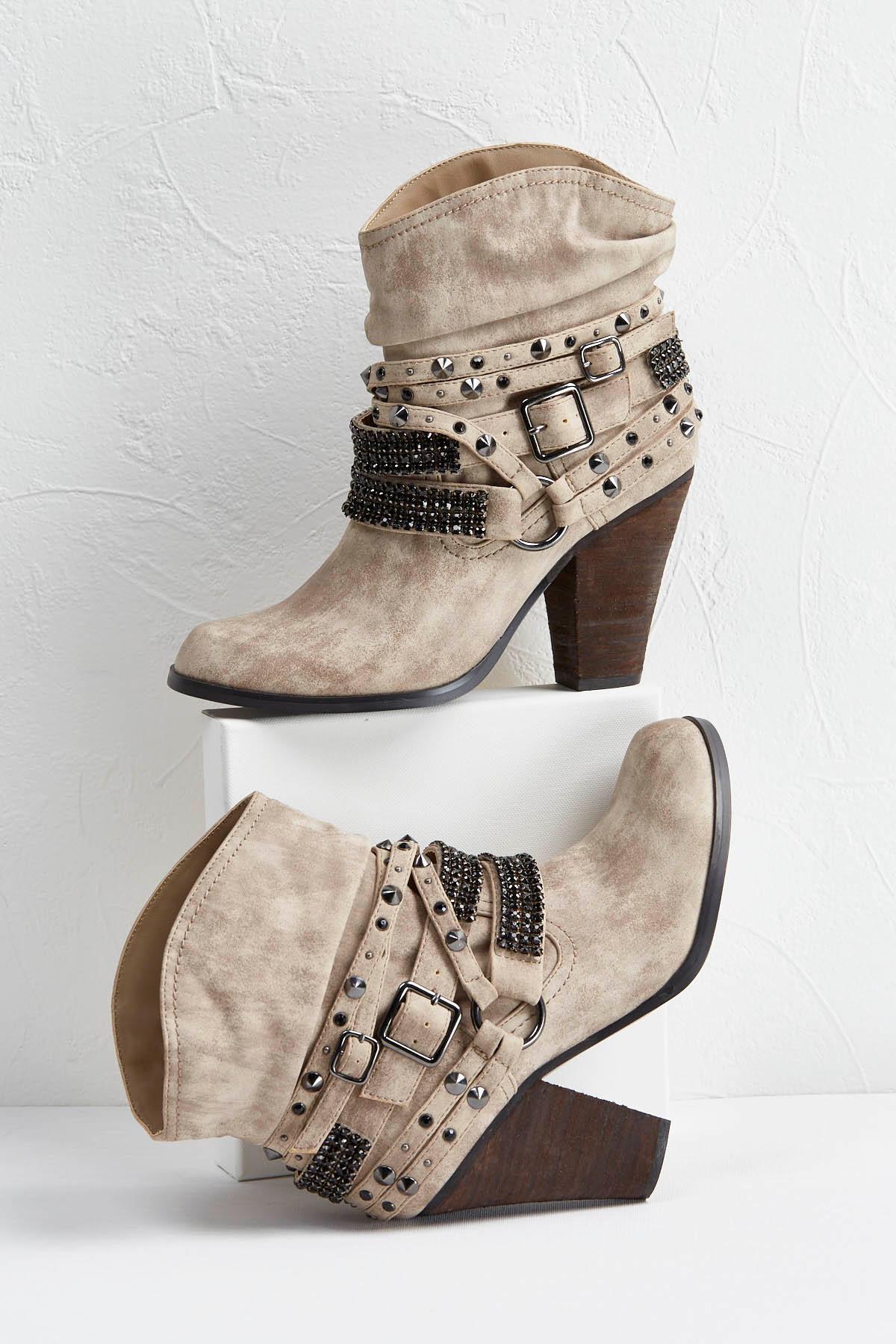 Embellished Western Midi Boots