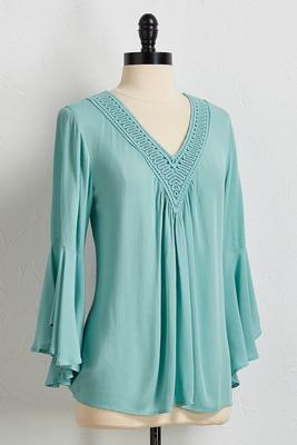 bell sleeve crochet trim top