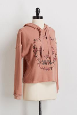 raw edge embroidered hoodie