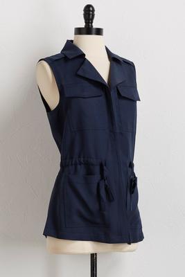 drawstring utility vest