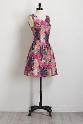 floral brocade fit and flare dress