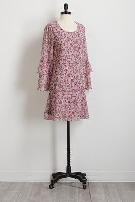 tiered floral shift dress