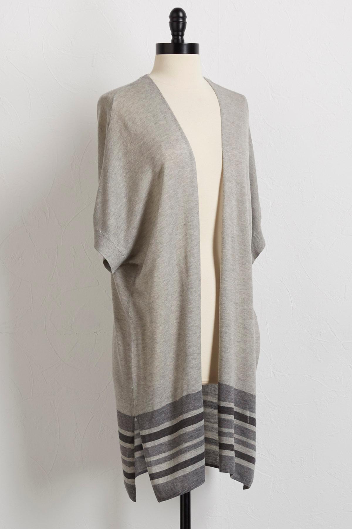 Border Stripe Kimono Sweater