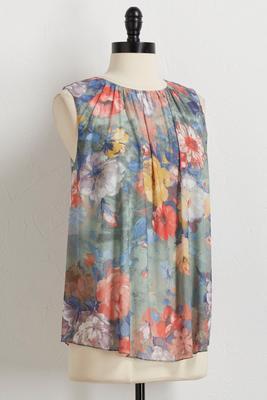 floral mesh top