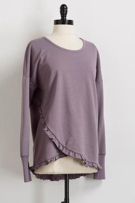 ruffled faux wrap sweatshirt