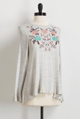 space dye floral embroidered top