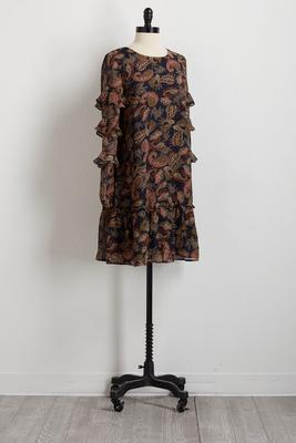 vine paisley ruffled shift dress