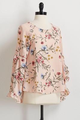 split ruffled sleeve floral top