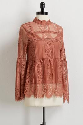 allover lace mock neck top