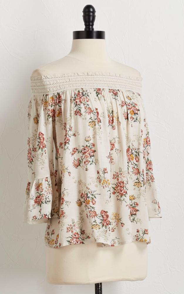 Off The Shoulder Vintage Floral Top