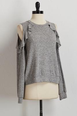 ruffled bare shoulder sweater