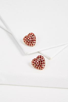 pave heart post earrings