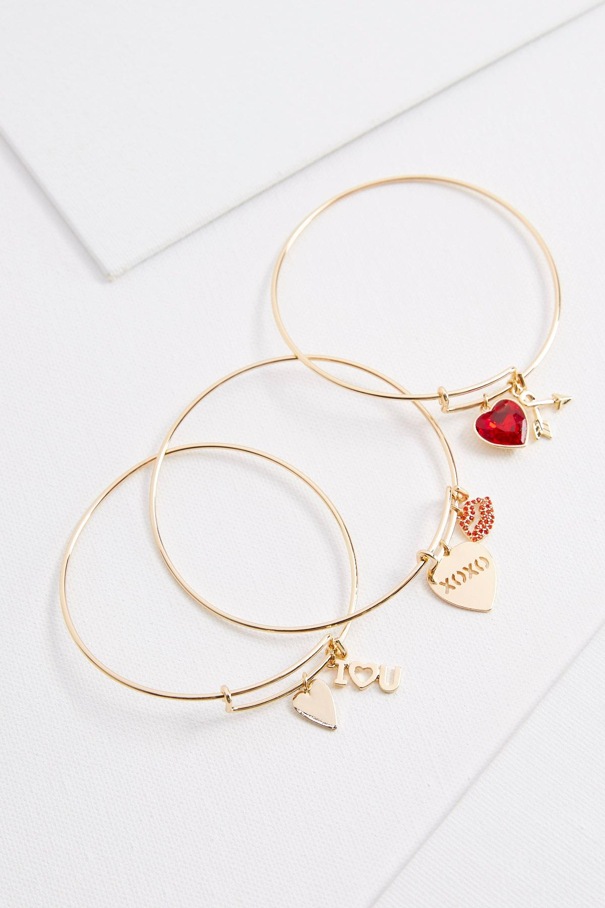 Heart Charm Bangle Set