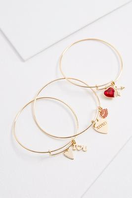 heart charm bangle set s