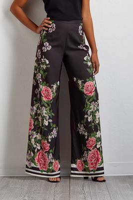 floral stripe palazzo pants