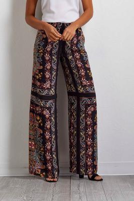 mixed paisley palazzo pants