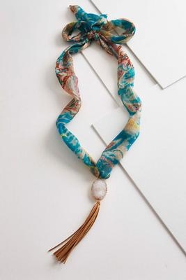 tasseled druzy scarf necklace