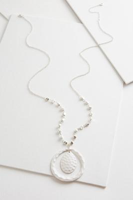 hammered orbital pendant necklace