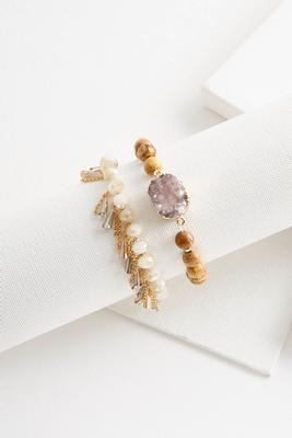 druzy rondelle stone bracelet set
