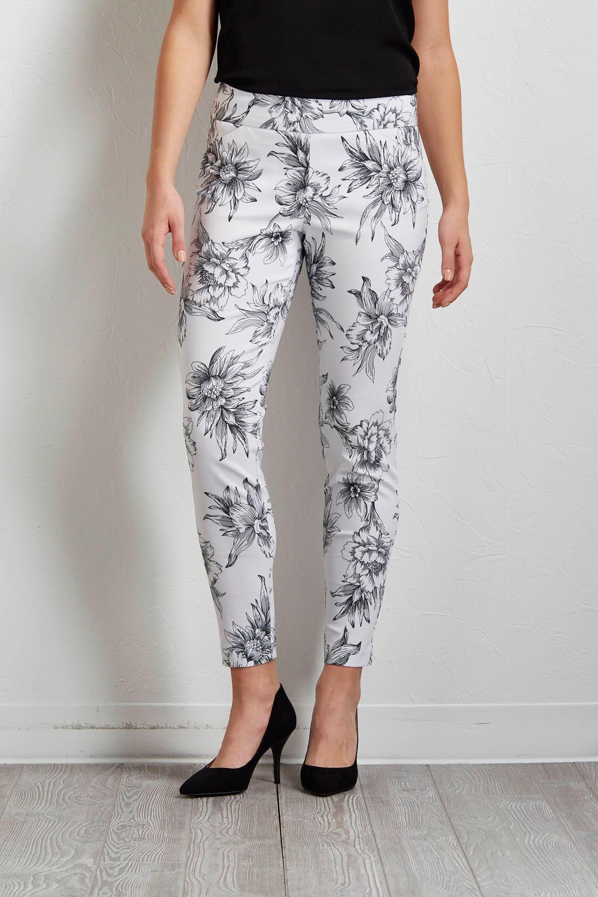 Stencil Floral Ankle Pants
