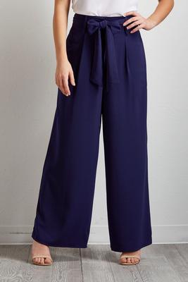 tie waist wide leg pants