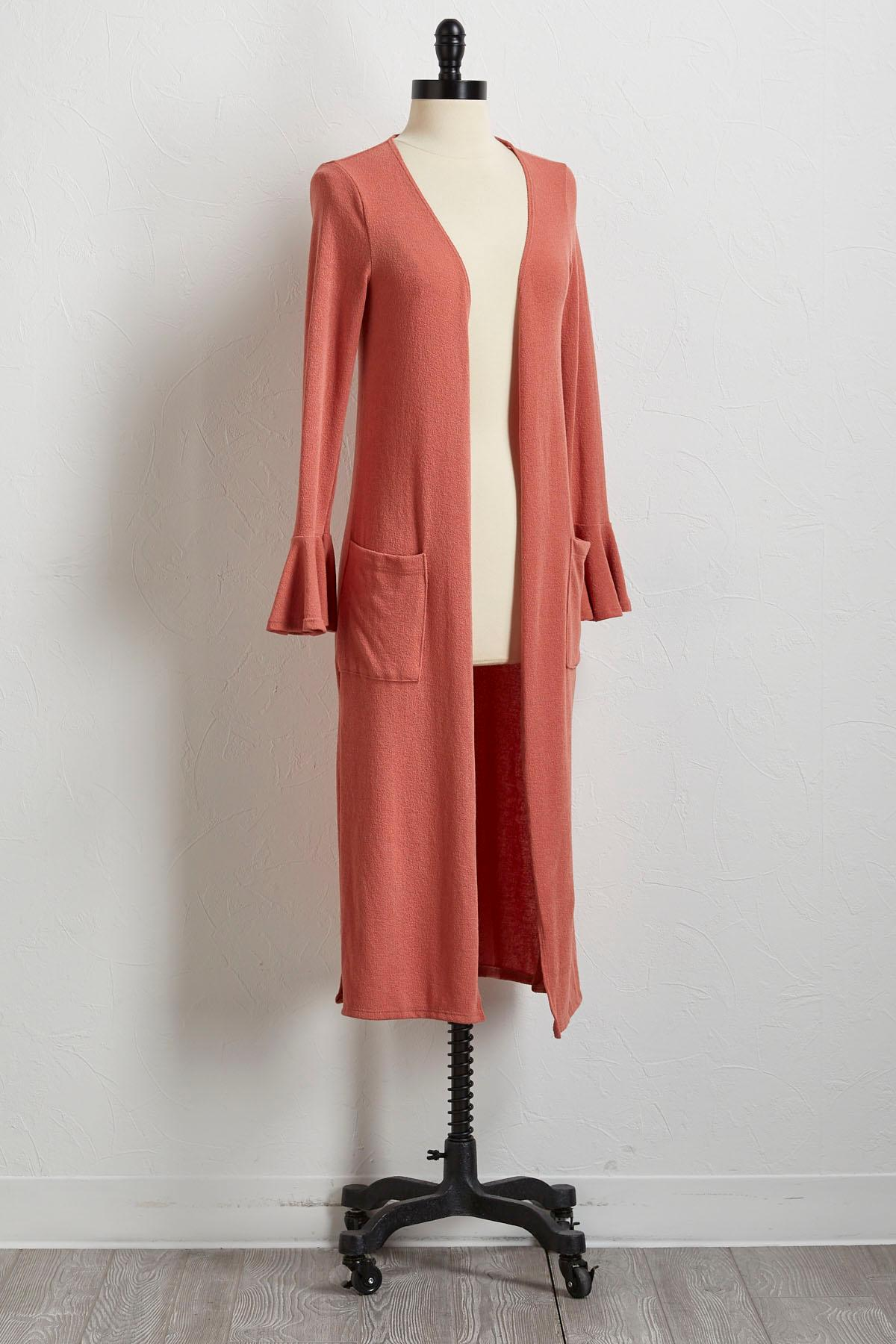 Ruffled Sleeve Hacci Duster