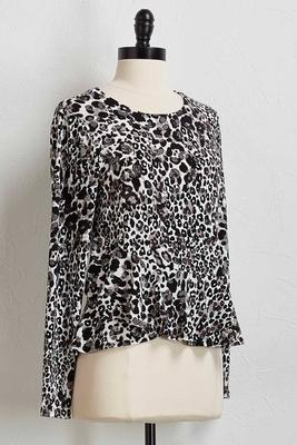 ruffled leopard print top