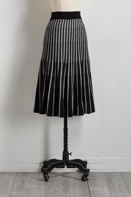 striped knit fit and flare skirt