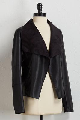 draped faux leather moto jacket