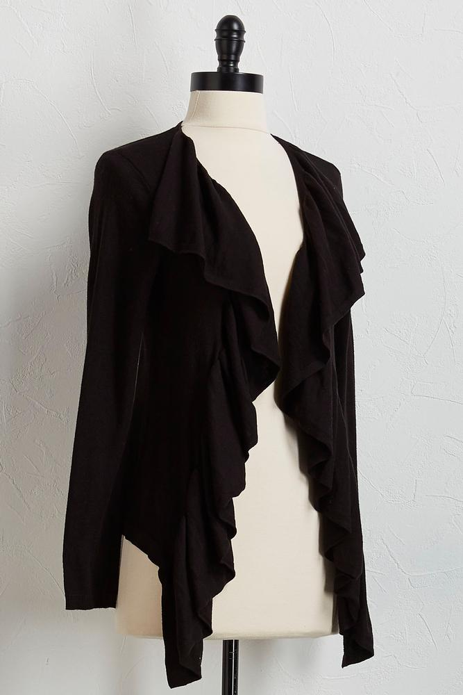 Draped Ruffle Cardigan Sweater