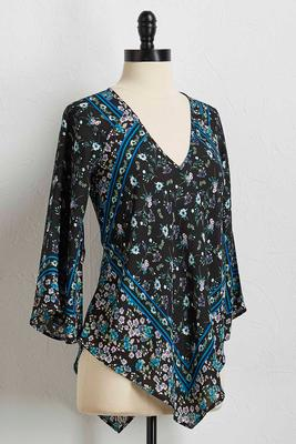 floral pointed hem top