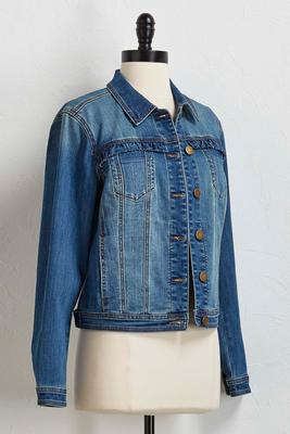 ruffled denim jacket