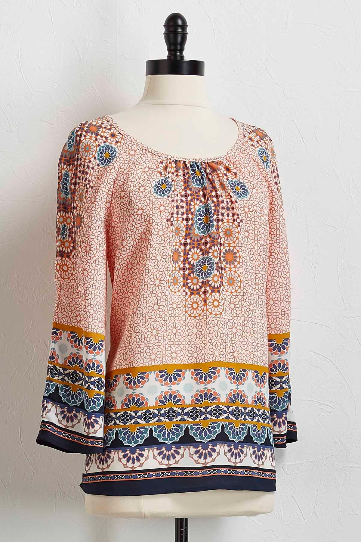 Mandarin Medallion Flutter Sleeve Top