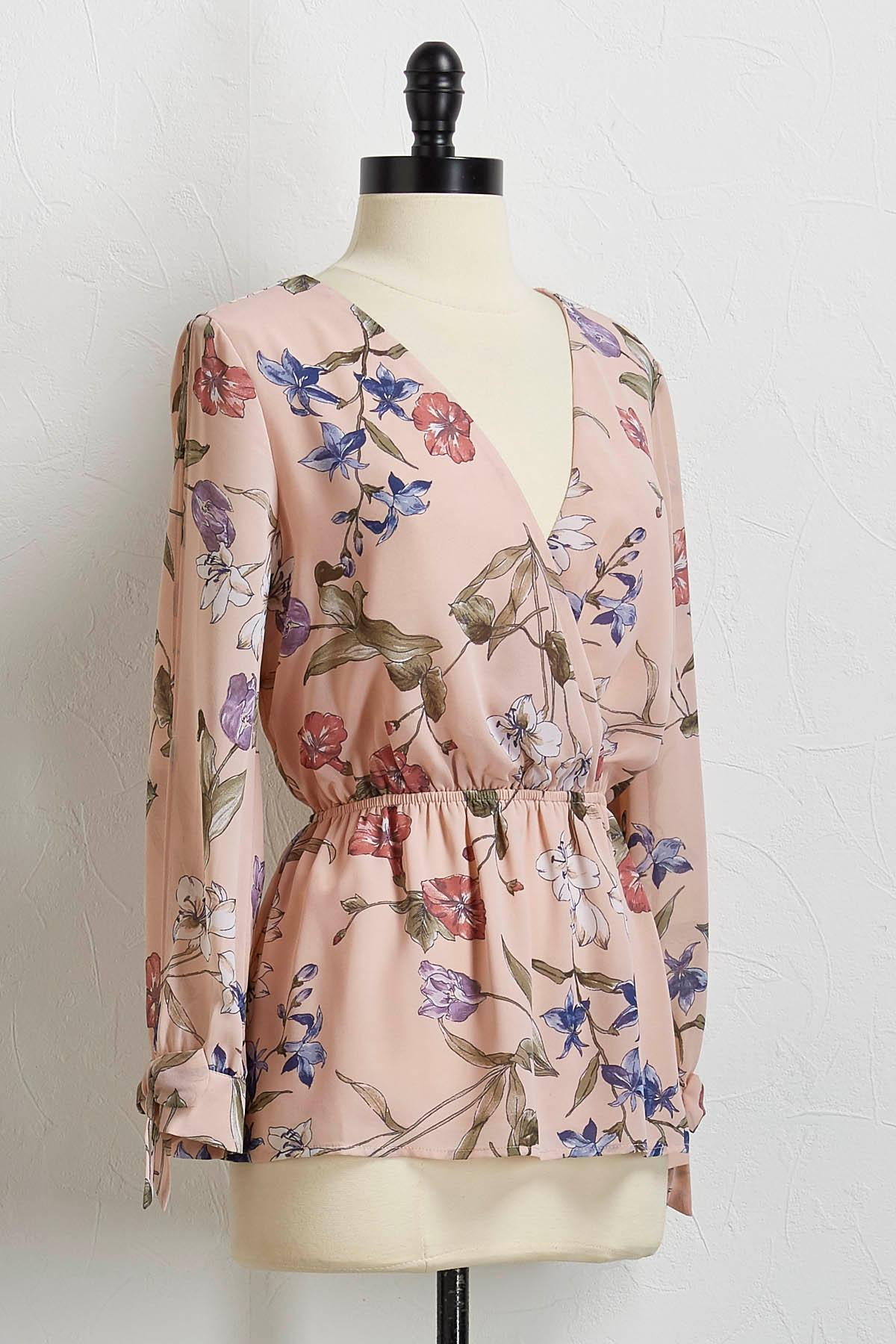 Floral Cinch Waist Top