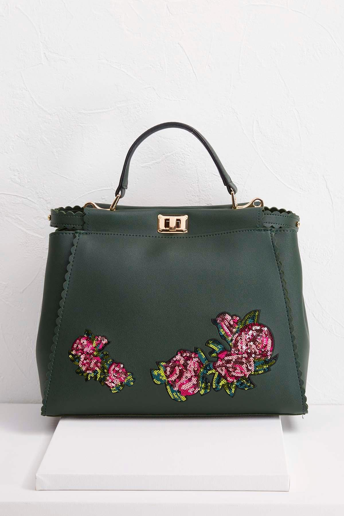 scalloped sequin floral tote s
