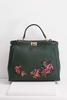 Scalloped Sequin Floral Tote
