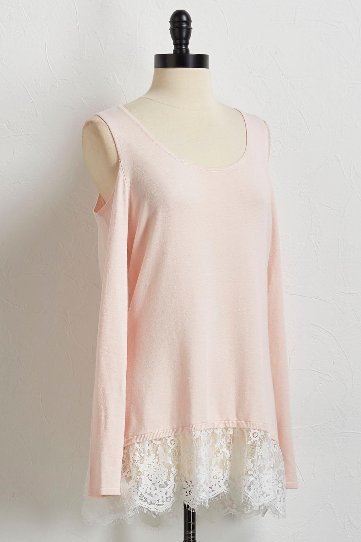 Lace Hem Bare Shoulder Sweater