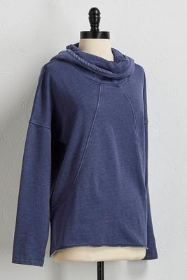 mineral wash cowl neck hoodie