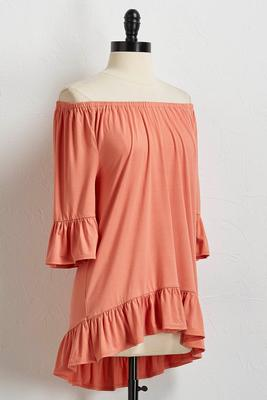 flounced bare shoulder sleeve tunic