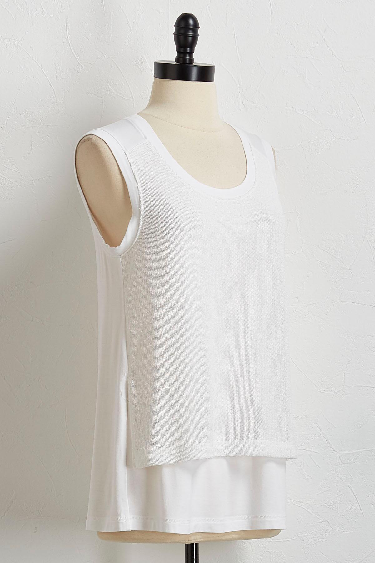 White Mixed Media Tank