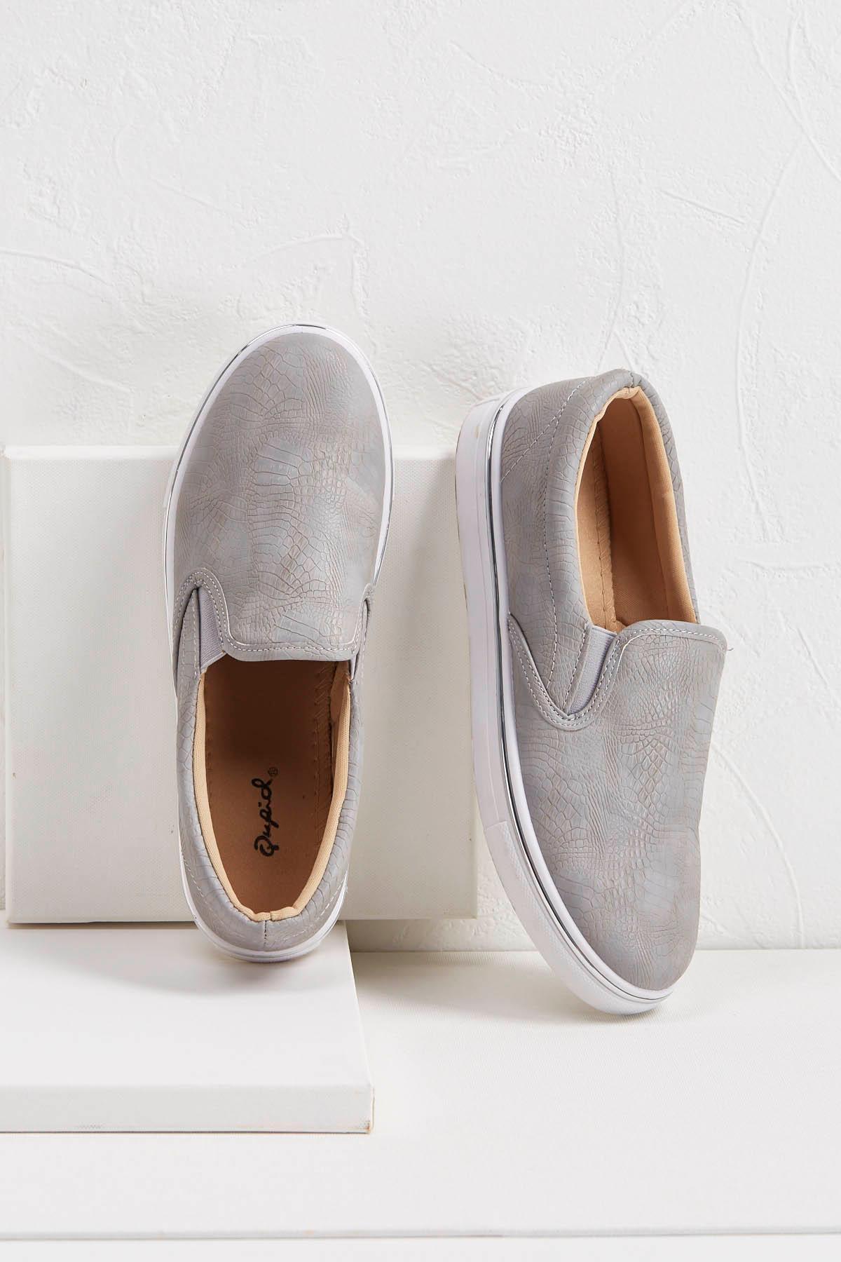 Faux Snakeskin Slip- On Sneakers