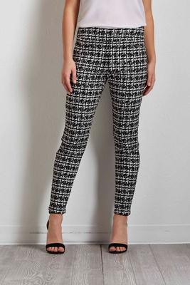 black and white check ankle pants