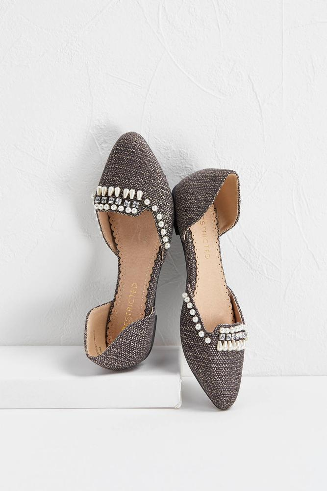 Pearl Embellished Tweed Flats