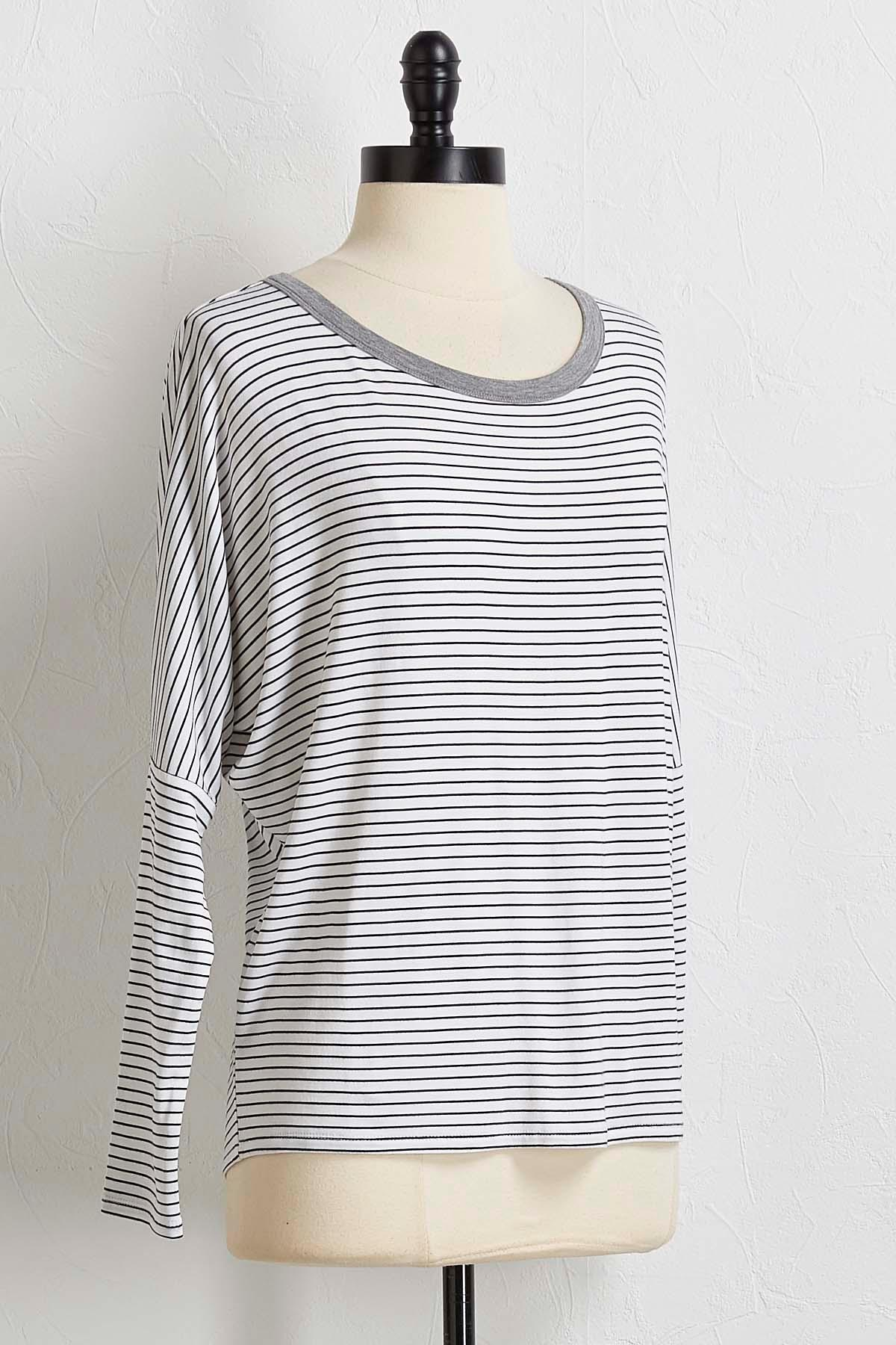 Striped Draped Back Top