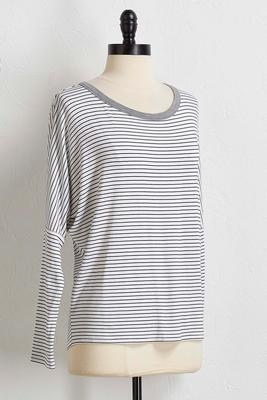 striped draped back top